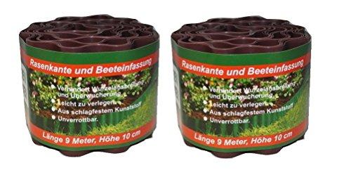 2x Rasenkante aus Kunststoff, 9 m x 10 cm, gewellt, Umrandung für Beete, Beeteinfassung, Braun