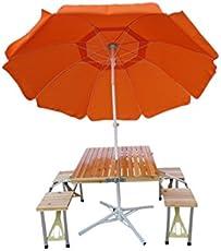 """""""Amaze"""" (Table+9' Umbrella+Umbrella Stand) Folding Aluminium Picnic Garden Outdoor Farm house Restaurant Ice cream Parlour Food parlour Cafeteria Table with Wooden Top,Umbrella Stand and 9' Tiltable Umbrella (Orange)"""