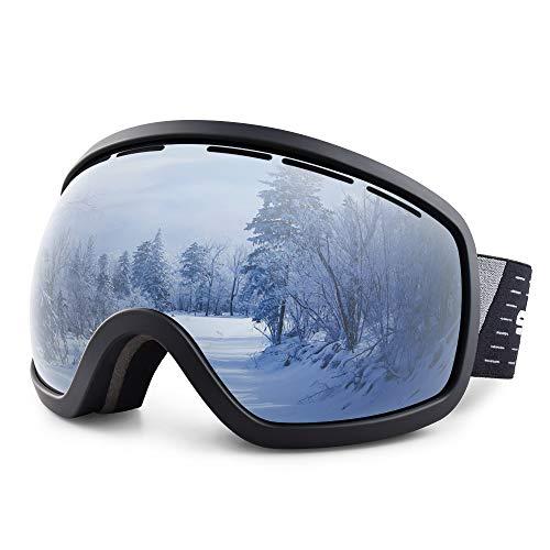 Snowledge Skibrille Damen und Herren Snowboardbrille OTG Anti Beschlag Schneebrille UV Schutz Verspiegelt Doppel Linse Sportbrille Schutzbrille Wintersport Skifahren Ski Brille Skilanglauf Windbrille -