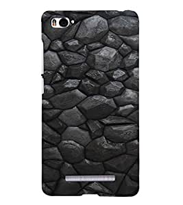 PrintVisa Charcoal Stone Pattern 3D Hard Polycarbonate Designer Back Case Cover for Xiaomi Redmi Mi4i