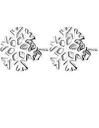 Pendientes de Botón Aretes Nieve Flor Oreja Studs Joyería