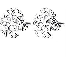 iDealhere Mujer Pendientes de Botón Aretes Plata 925 Nieve Flor Oreja Studs Joyería