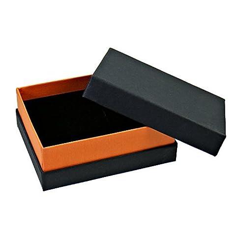 10 Stück hochwertige Karton Schmuck Etuis Schmuckdose Box für Ringe Ohrringe Anhänger schwarz orange 10x8x4cm