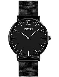 Moda Simple Relojes para Hombre Mujer - Correa de Aleación Ultra-Delgado Dos Punteros Relojes de Pulsera para Señores Señoras, Negro…