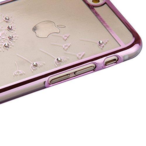 Etsue Dur Clear PC Coque pour iPhone SE/5/5S, Luxe Bling [Pissenlit Argent] Plaquer par Galvanoplastie Diamant Glitter Cristal Ttransparent Coquille Dure Aérien Protecteur Case étui pour iPhone SE/5/5 Pissenlit Rose