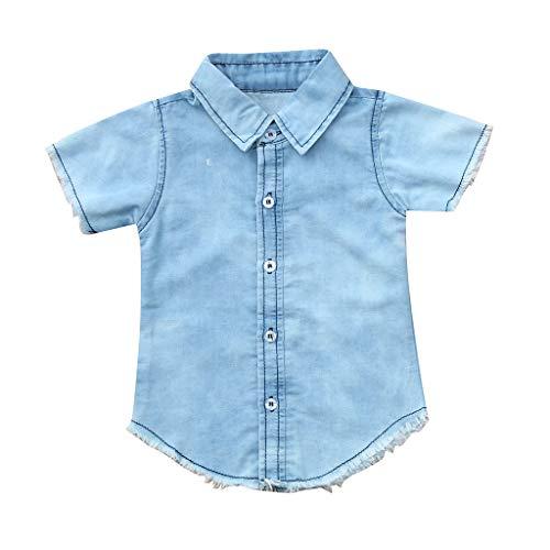 HEETEY HEETEY Kinder T-Shirt Sommer Oberteile, Kleinkind Baby Jungen Mädchen Kurzarm Volltonfarbe Denim T-Shirt Tops Kleidung Sommerhemd Freizeit Blusentop