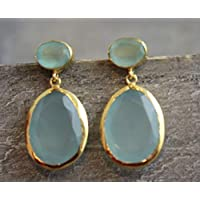 Aqua Chalcedon Edelstein vergoldet Sterling Silber Post Ohrringe Prime Special Reg. Price 45