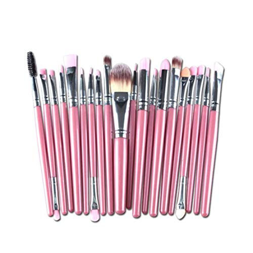 Make Up Pinsel Set 20pcs Professionelles Kosmetikpinsel Lidschatten Gesichtspinsel Eyeliner(Rosa) -