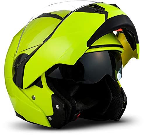 "Soxon® SF-99 \""Neon Yellow\"" · Motorrad-Helm · Klapp-Helm Modular-Helm Flip-up Integral-Helm Motorrad-Helm Roller-Helm Full-Face Scooter-Helm MTB · ECE Sonnenvisier Schnellverschluss Tasche M (57-58cm)"