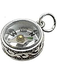 RETRO CHARMS: Vintage Finished Sterling Silver 925 Bloodstone & Cornelain Swivel Fob Charm V657BC