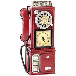 Reloj Decorativo Telefono Vintage Metal (Rojo)