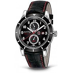 Clock Eberhard Tazio Nuvolari 41033CP Breaker quandrante Steel Black Leather Strap