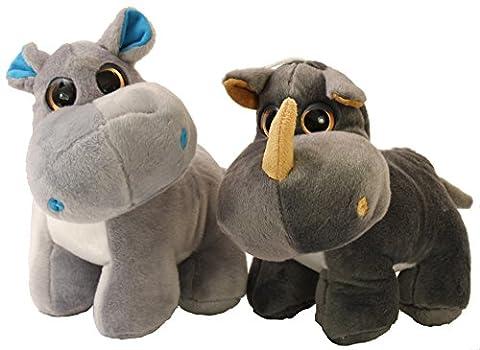 Super Jolie Rhinocéros & Hippopotame en peluche Set. env. 30cm