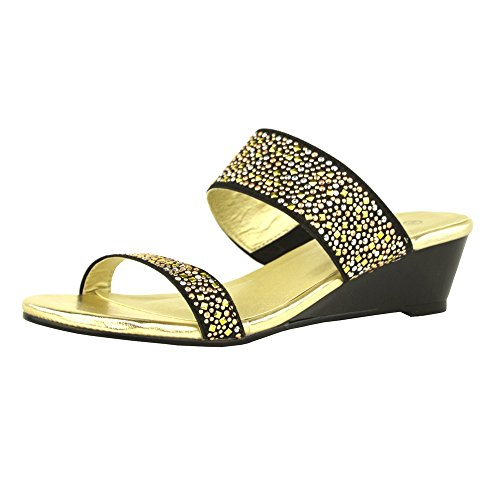 Kick Footwear - Donna diamante cuneo slip on dressy parti della piattaforma sandali Nero