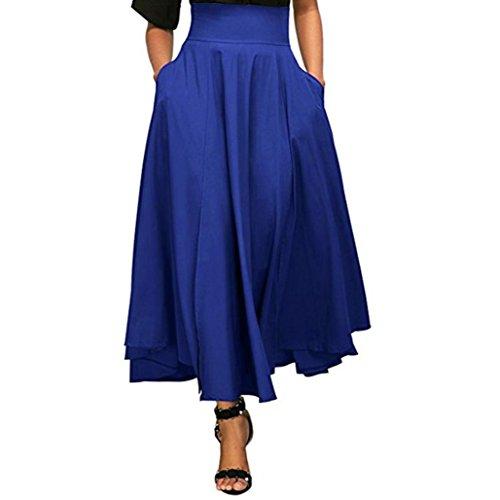 Fuibo [ Damen Rock ] Frauen hohe Taille gefaltete eine Linie langen Rock vorne Schlitz Gürtel Maxi Rock (Blau, XXL) (Minirock Vorne Plissiert)