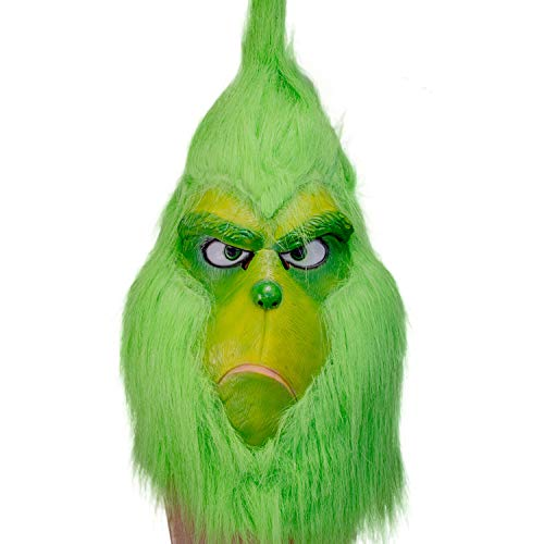 Kostüm Grinch Ein - DealTrade Grinch Maske Cosplay Erwachsener Grün Latex Voller Kopf Helm mit Haar Kostüm für Halloween Weihnachten Fancy Dress Karneval
