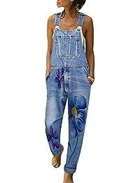 Vertvie Damen Denim Jeans Latzhose Langer Overall Blumen Jeansoptik Klasse Vintage Jeans Lang Lässig Baggy Boyfriend Stylisch Jumpsuit Hüftjeans S-3XL