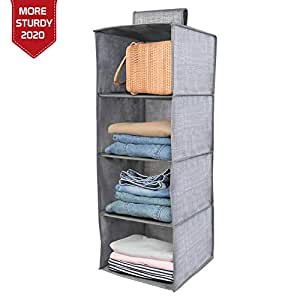 HOKIPO® Hanging 4-Shelf Closet Cloth Organizer, 30 x 30 x 80 cm.