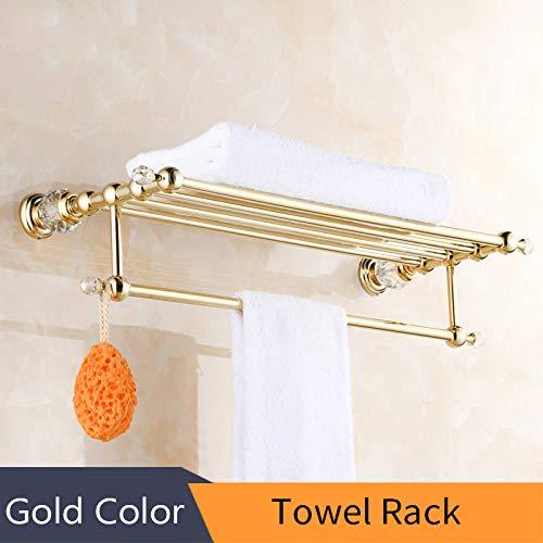 S-Senrohy Crystal Massivem Messing Gold Waschraum Robe Haken Seifenhalter Handtuchhalter Handtuchhalter Getränkehalter Badzubehör Towel Rack -