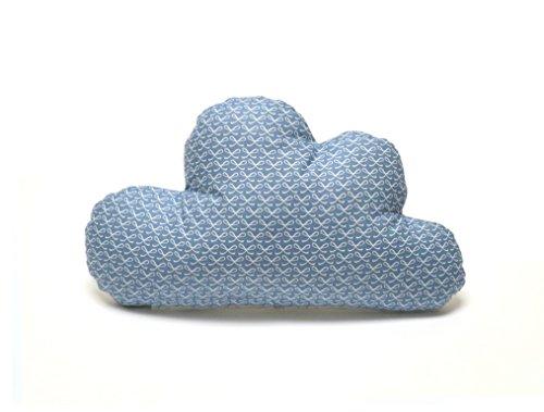 Blausberg Baby - Schmusewolke Kissen in Wolken-Form mit Frottee-Seite Dekokissen alle Materialien OEKO-TEX® Standard 100 zertifiziert - handgefertigt in Hamburg, Deutschland - Happy Loop blau