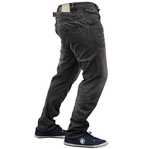 Crosshatch Mens Kractus Jambe Torsadée Designer Jeans Conique Ajustement Régulier Greywash Greywash