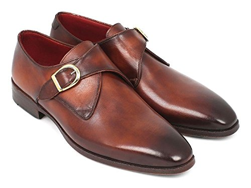 DE SCALZO Brown Leather Single Monk Strap Shoes for Men (11)