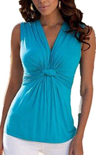 IWFREE Femmes Sexy Col V à Sans Manches Couleur Unie Shirt Top Blouse Gilet Bleu