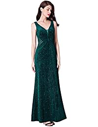 Ever-Pretty Vestito da Sera V-Collo Fiocchi Luminoso Donna Lunga Sirena  Elegante 07439 b38b59ef049