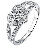 En forma de corazón anillo de diamante anillos de boda 7m