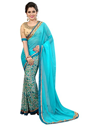 Sarees ( Glance Designs Saris Women\'s Clothing Saree For Women Latest Design Wear Sarees Collection in Multi-Coloured Georgette Material Latest Saree With Designer Blouse Free Size Beautiful Bollywoo