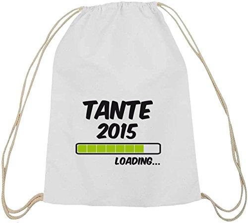 Shirtstreet24, Tante 2015 Loading..., Geburt Baumwoll natur Turnbeutel Rucksack Sport Beutel weiß natur