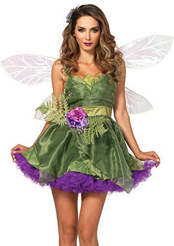LEG AVENUE 83868-3Tl. Woodland Fee Kostüm Set Mit Organza Trägerkleid, Taillengesteck, Haarspange Damen Karneval Kostüm Fasching, S (EUR 36)