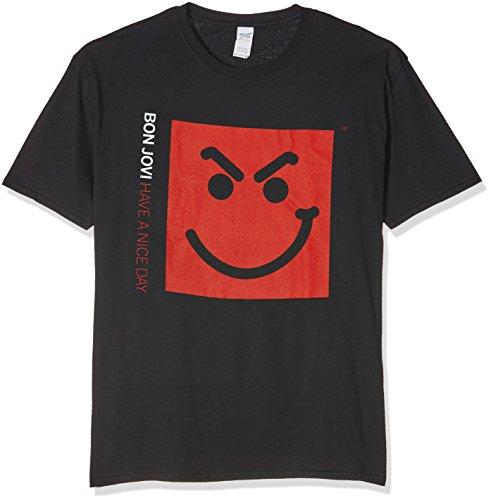 Bon Jovi T-shirts (CID Herren T-Shirt Bon Jovi-Smirk, Schwarz (Schwarz), L)