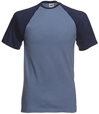 Fruit of the Loom S/Slv Baseball T Shirt in Steel blue / navy Size XL (SS31)