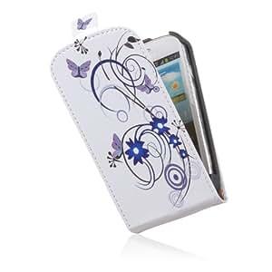 tinxi® Ledertasche für Samsung Galaxy S3 Mini i8190 Flipcase Leder Tasche Cover mit Magnet Verschluss weiß mit blauer Blumen lila Schmetterling