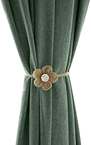 Lewondr Magnetic Window Curtain Rope Holdbacks, 2 Pieces Simple and Elegant Sunflower Decorative Knitted Cord Drapery Holder