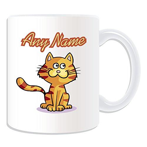 De regalo con mensaje personalizado - gato Tabby de taza (diseño de animales, blanco) - nombre personalizable para/de mensaje tu taza diseño de - diseño a rayas de tigre de gatito