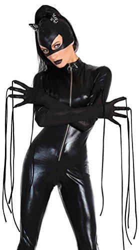 Catwoman Catsuit Katzenkostüm Overrall mit Front-Reißverschluss, Clubwear Karneval Fasching Halloween Cosplay Kostüme Schwarz XL (Hollween Kostüme)