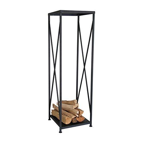 Kaminholzregal schwarz aus pulverbeschichtetem Eisen ca. 34 x 34 x 111 cm - als stabiler Kaminholzständer innen zur Aufbewahrung von Brennholz