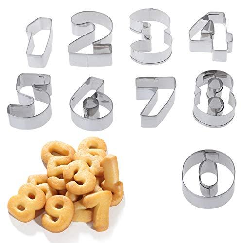FKY 9 Stück Edelstahl Zahlen Plätzchen Schablone Keks Ausstecher Werkzeug Set Back-Modus