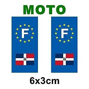 Autocollant plaque immatriculation drapeau republique dominicaine Moto