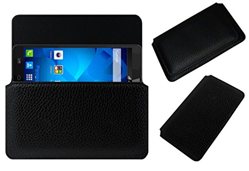 ACM Horizontal Leather Case for Panasonic P81 Mobile Cover Carry Pouch Holder Black