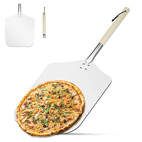 AngLink Pizzaschaufel, Aluminium Pizzaschieber mit Abnehmbarer Holz-Griff Brotschieber für Pizzaofen BBQ, - Pizzaofen Mit Holz Gebrauchte