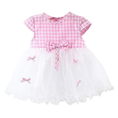 (Dresses for Girls Pwtchenty Kurzarm Patchwork Plaid Bow Mesh Kleid Princess Dress Baby Mädchen Brautjungfer Festzug Kleid Faschings Kostüm)