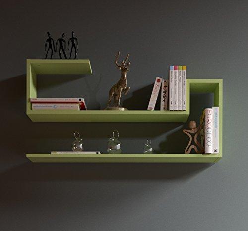WAVE Étagère murale - Vert - étagère à livres pour décoration de salon en bois dans un design moderne