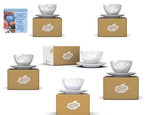FIFTYEIGHT PRODUCTS 6-er 200ml Kaffee Tassen + H&H Geschirrtuch Neu