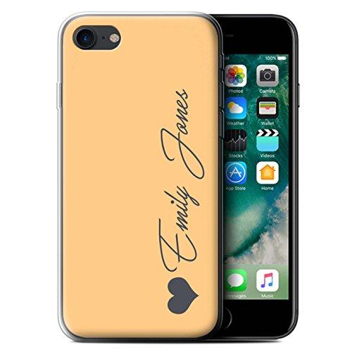 Personalisiert Individuell Pastell Töne Gel/TPU Hülle für Apple iPhone 7 / Korallen Herz Design / Initiale/Name/Text Schutzhülle/Case/Etui Orange Herz