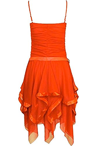 Frauen Plain Chiffon Zick-Zack Rand Abschlussball Partei Geraffte Gürtel  Riegel Kleid Orange