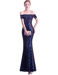 967d2c528b QJKai Vestido de Noche de Banquete Falda de Cola de Pescado sin Tirantes  Larga para Mujer