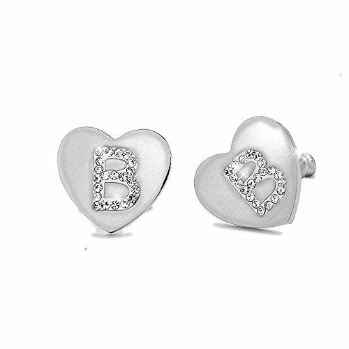 Beloved Orecchini da donna con cristalli in acciaio - con lettera iniziale a forma di cuore - lettera dell'alfabeto in cristalli - Con perno e farfallina - per lobi forati (B)